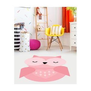 Ružový detský vinylový koberec Floorart Sovička, 70 x 100 cm
