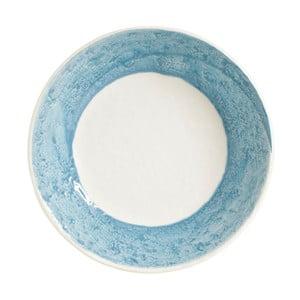 Kameninový tanier s modrým detailom Côté Table Lisere, ⌀20 cm