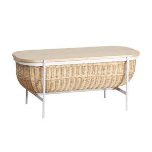 Prútená lavica s bielou konštrukciou a úložným priestorom OK Design Willow