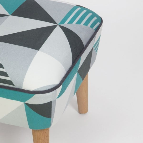Taburet s drevenými nohami Damo Pete, 45 × 45 cm