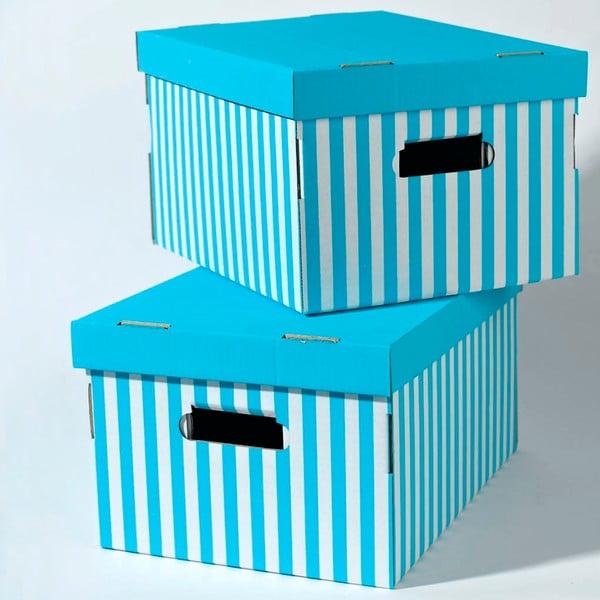 Sada 2 modrých úložných boxov Compactor Aqua