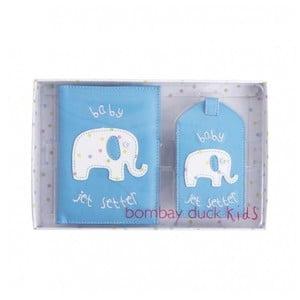 Sada modrého puzdra na doklady avisačky na kufor Bombay Duck