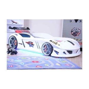 Biela detská posteľ v tvare auta s LED svetlami Speedy, 90 × 190 cm