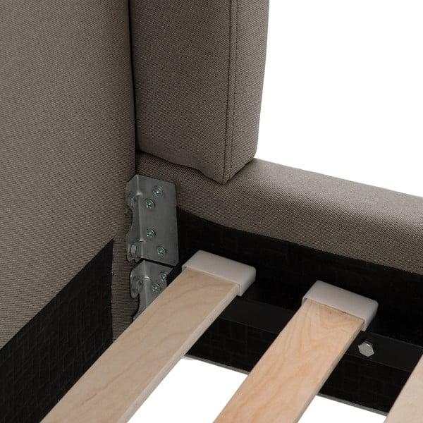 Sivá posteľ Vivonita Windsor 140x200cm, čierne nohy