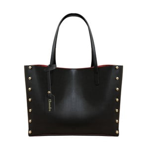 Čierna kožená kabelka s červeným vnútrom Maison Bag Missy