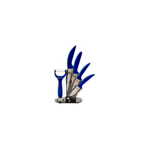 5-dielna súprava nožov v stojane Ceramic, modá