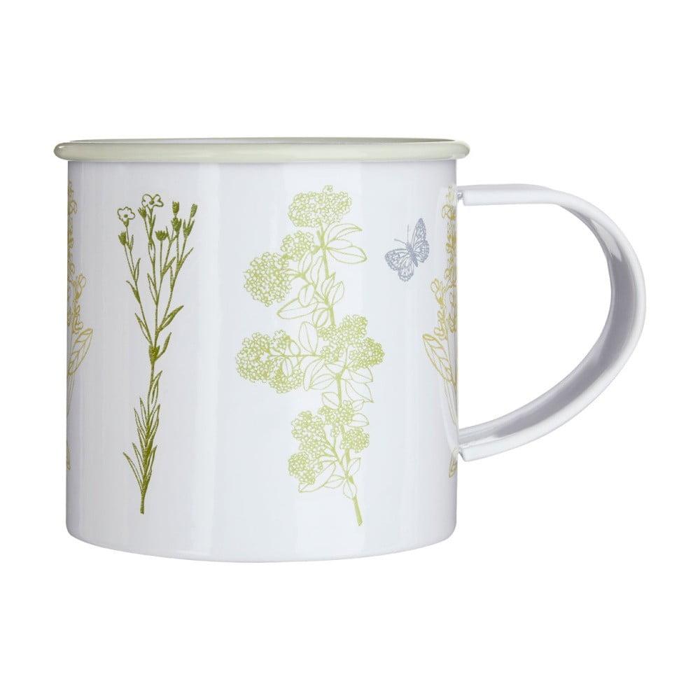 Biely smaltovaný hrnček s kvetinami Premier Housewares Finchwood, 350 ml