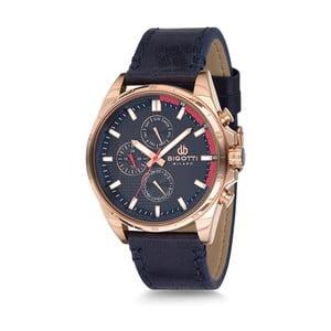 Pánske hodinky s tmave modrým koženým remienkom Bigotti Milano Dandy