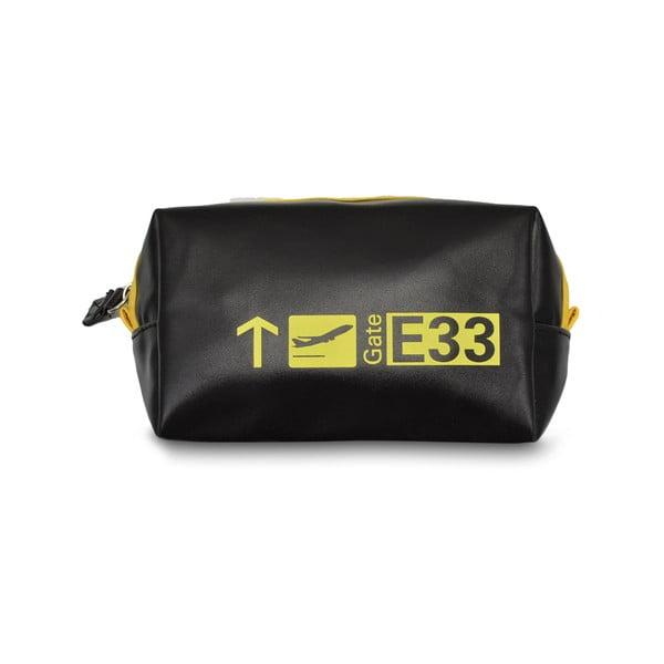 Čierne cestovné kozmetické puzdro s žltým detailom Hero Gate