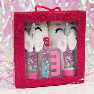 Set detských papúč, mydlá na nohy, pilníka a oddeľovača nechtov pri lakovaní Just 4 Kids Unicorn Slipper Set