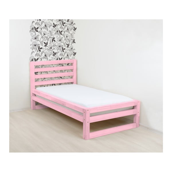 Ružová drevená jednolôžková posteľ Benlemi DeLuxe, 190 × 90 cm
