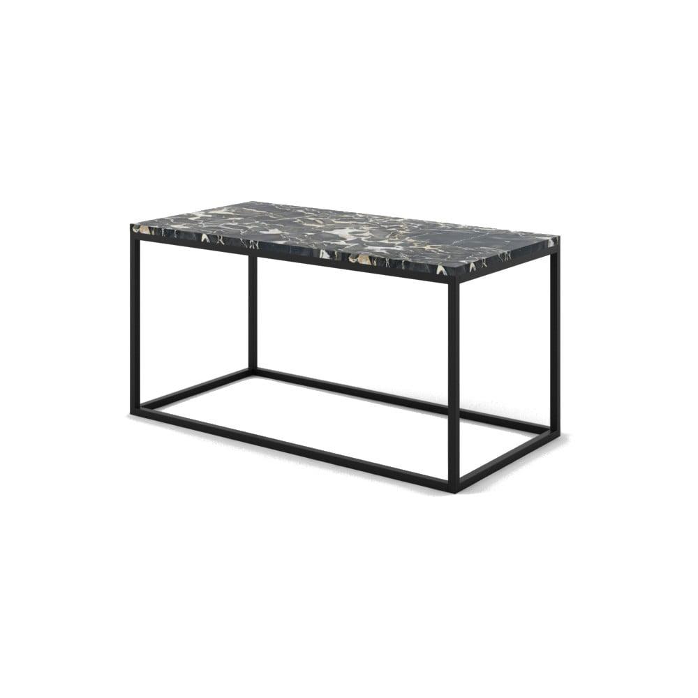 Veľký čierny konferenčný stôl z mramoru s čiernou podnožou Absynth Noi Italy