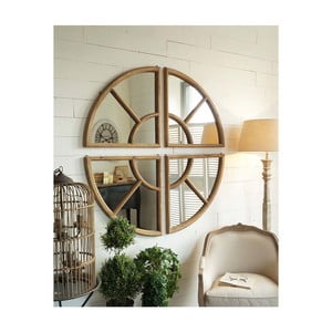 Zrkadlo v drevenom ráme Orchidea Milano Vintage, ⌀ 102 cm