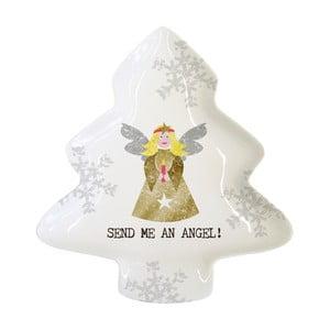 Porcelánová dekoratívna tácka s vianočným motívom PPD Send Me An Angel, 19,5 × 23 cm