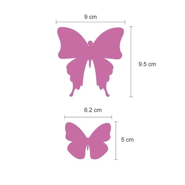 Trojrozmerné samolepky - motýlikovia, zrkadlová ružová