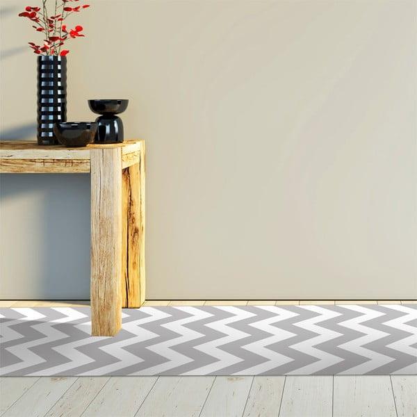 Odolný vinylový koberec Zig Zag Gray, 60x200 cm