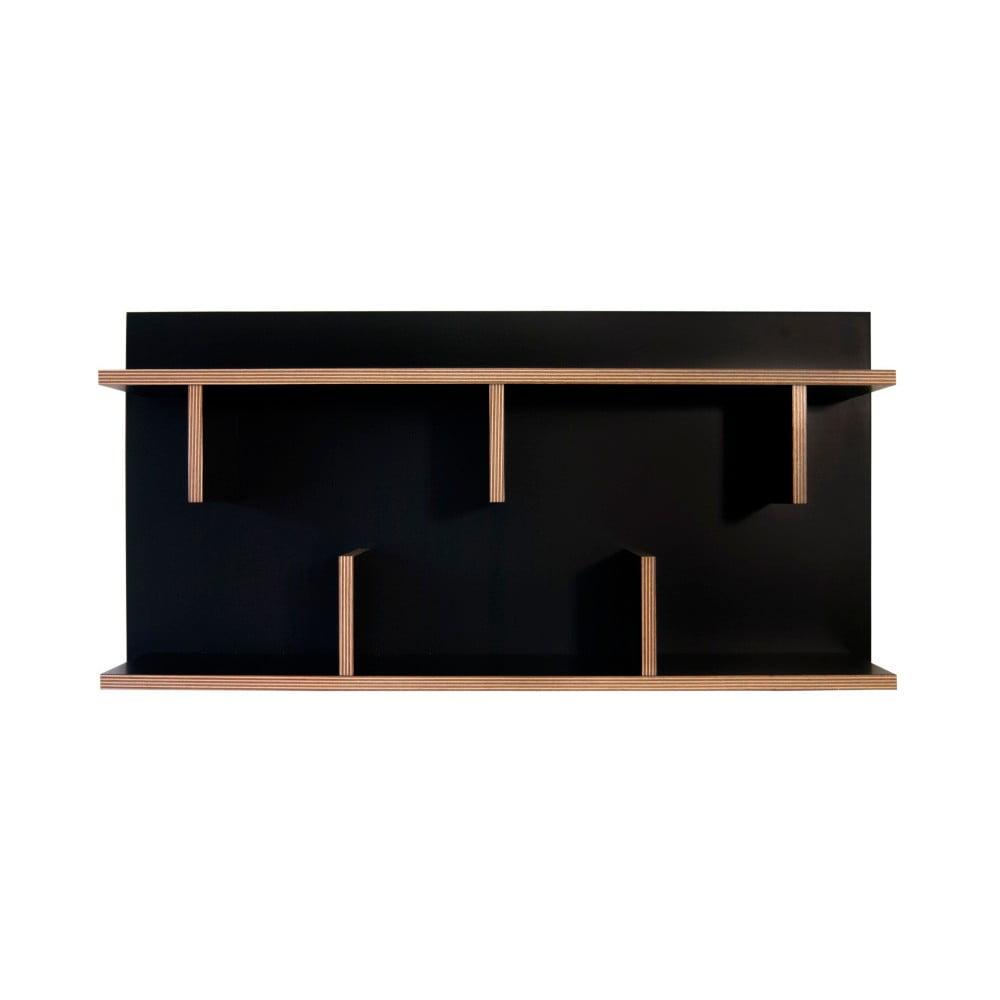 Čierny nástenný policový systém TemaHome Bern, dĺžka 90 cm