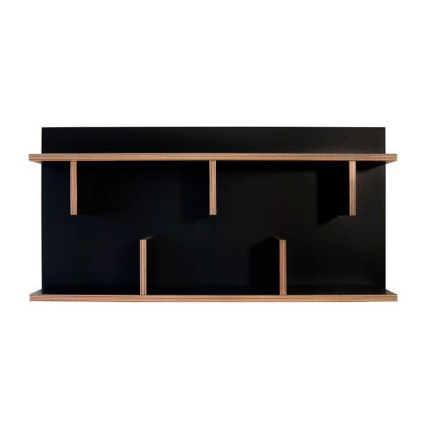 Čierny nástenný policový systém TemaHome Bern, dĺžka 90cm