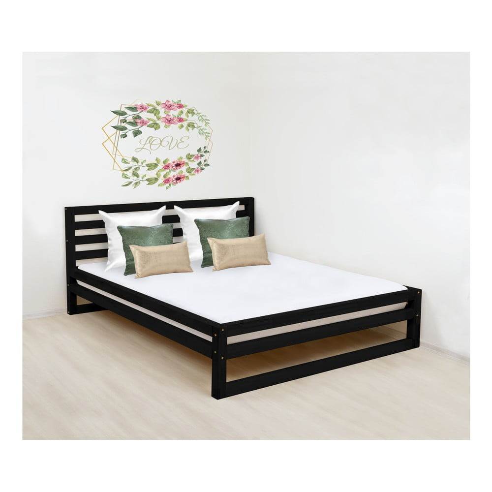 Čierna drevená dvojlôžková posteľ Benlemi DeLuxe, 190 × 160 cm