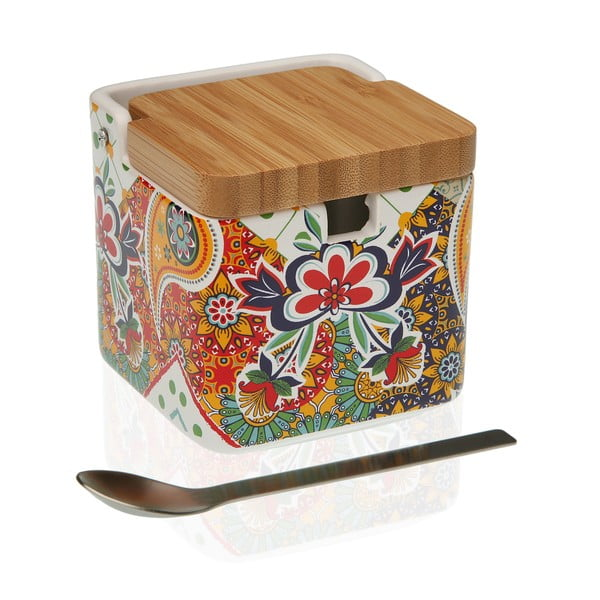 Dóza na cukor s bambusovým viečkom a lyžičkou Versa Giardino