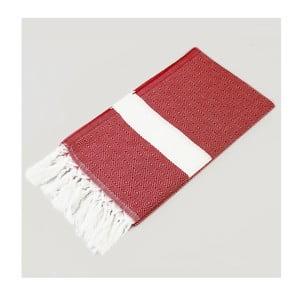 Hammam osuška Diamond Style Red & White, 100x180 cm