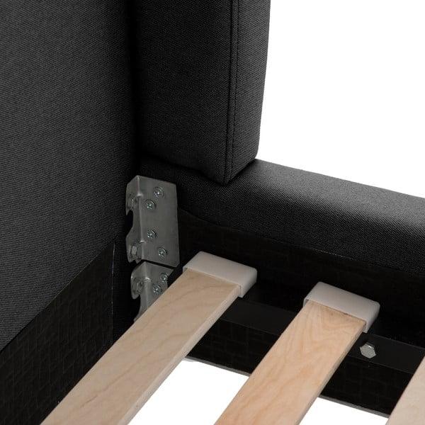 Čierna posteľ Vivonita Windsor 140x200cm, čierne nohy