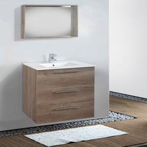 Kúpeľňová skrinka s umývadlom a zrkadlom Darwin, dekor dubu, 80 cm