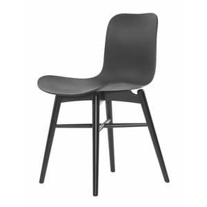 Čierna jedálenská stolička z masívneho bukového dreva NORR11 Langue Stained