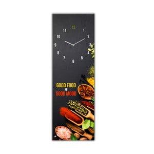 Sklenené nástenné hodiny Styler Good Food, 20 x 60 cm