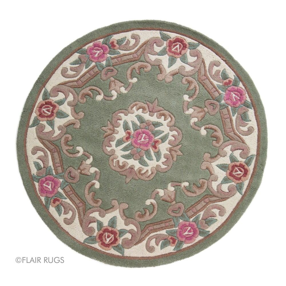 Zelený vlnený koberec Flair Rugs Aubusson, ⌀ 120 cm