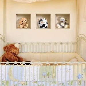 3D samolepky na stenu Nisha Teddy, 3 ks