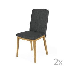 Sada 2 jedálenských stoličiek s podnožou z dubového dreva Woodman Adra Dark Half