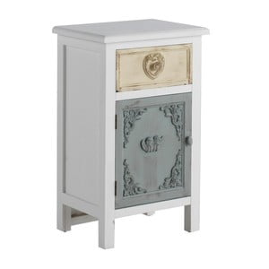 Biely nočný stolík so zásuvkou Geese Heart