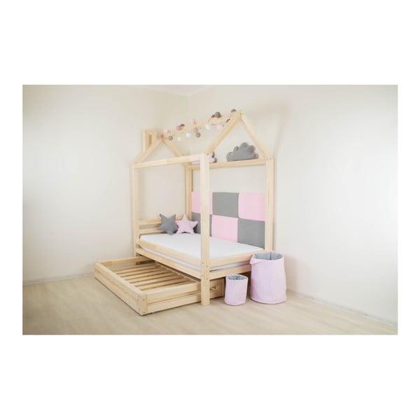Detská čierna posteľ zborovicového dreva Benlemi Happy, 90×200cm