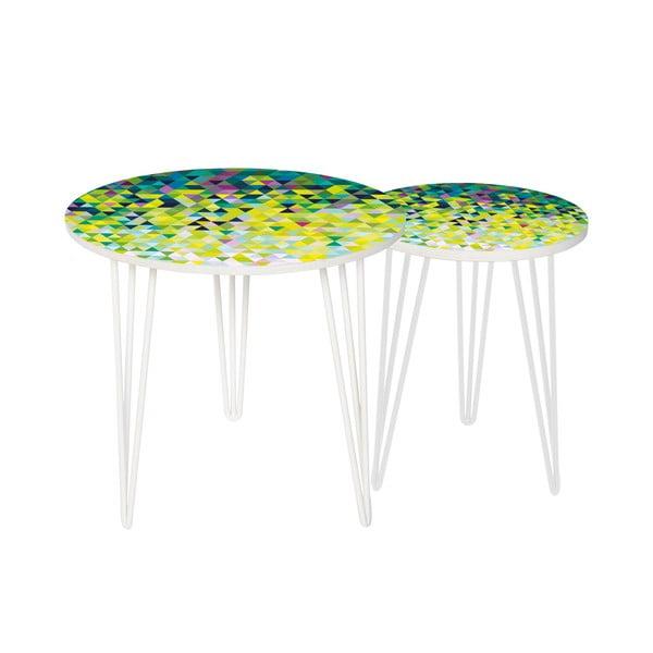 Sada 2 odkladacích stolíkov Abstract Meadow, 35 cm + 49 cm