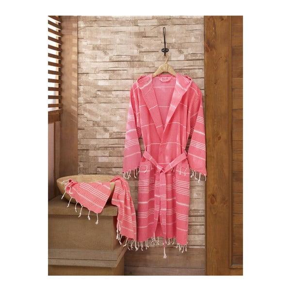 Set ružového župana s uterákom Sultan, veľ. L/XL