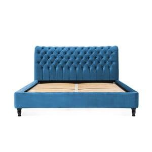 Tyrkysová posteľ z bukového dreva s čiernymi nohami Vivonita Allon, 180 × 200 cm