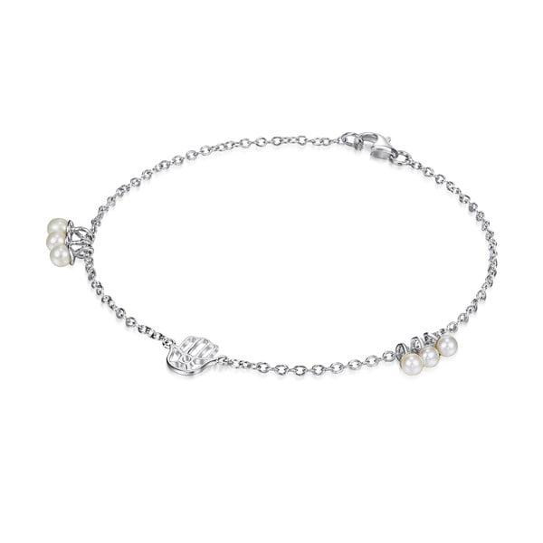 Strieborný náramok s perlami a príveskom Chakra Pearls, 21 cm
