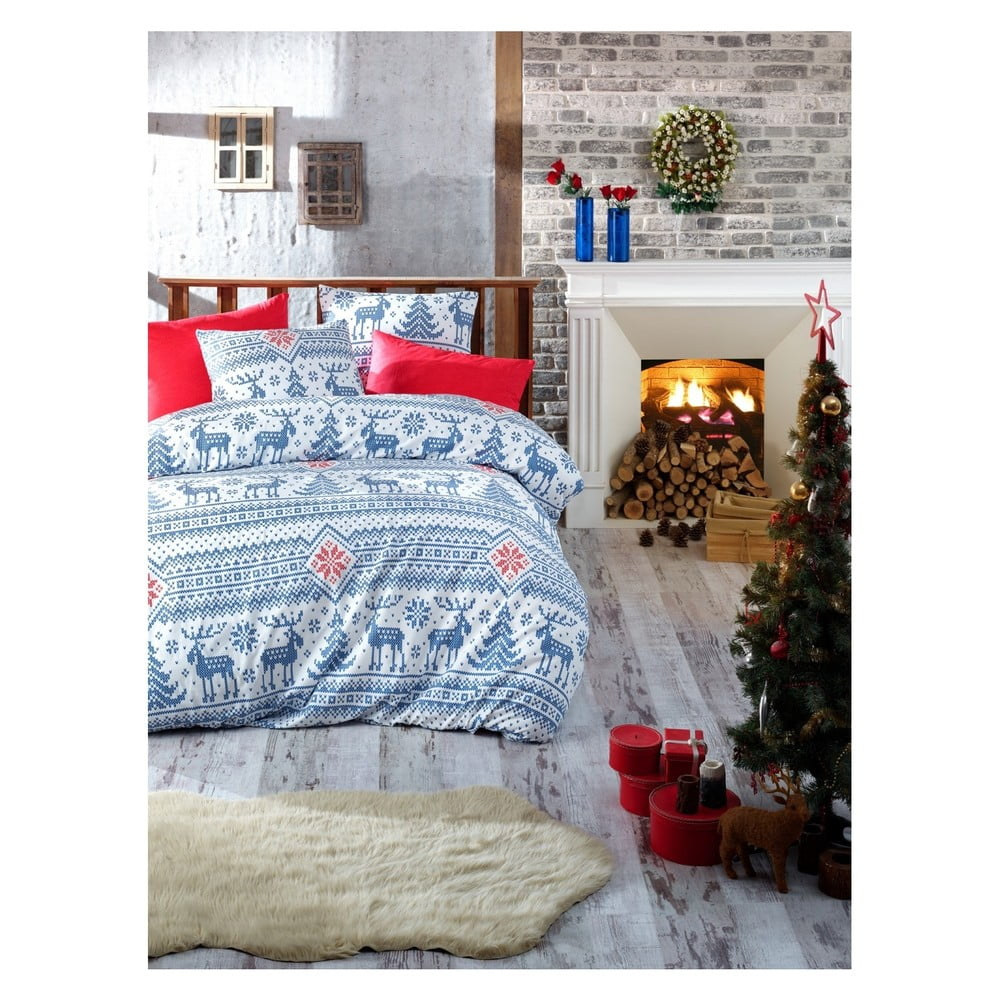 Vianočné bavlnené obliečky na dvojlôžko s plachtou Maya, 200 × 220 cm