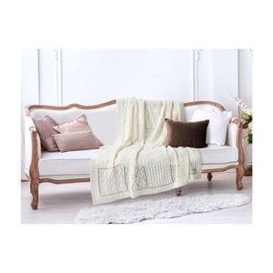 Krémovobiela bavlnená deka Madame Coco Crochet, 130×170 cm