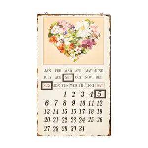 Nástenný kovový kalendár Novita Ghirlanda Fiori, 30 x 50 cm