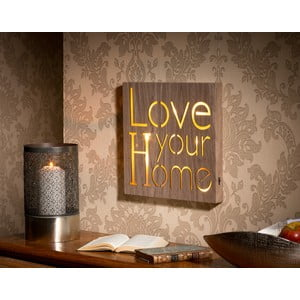 Obraz so svietiacim nápisom Love Your Home, 30x30 cm