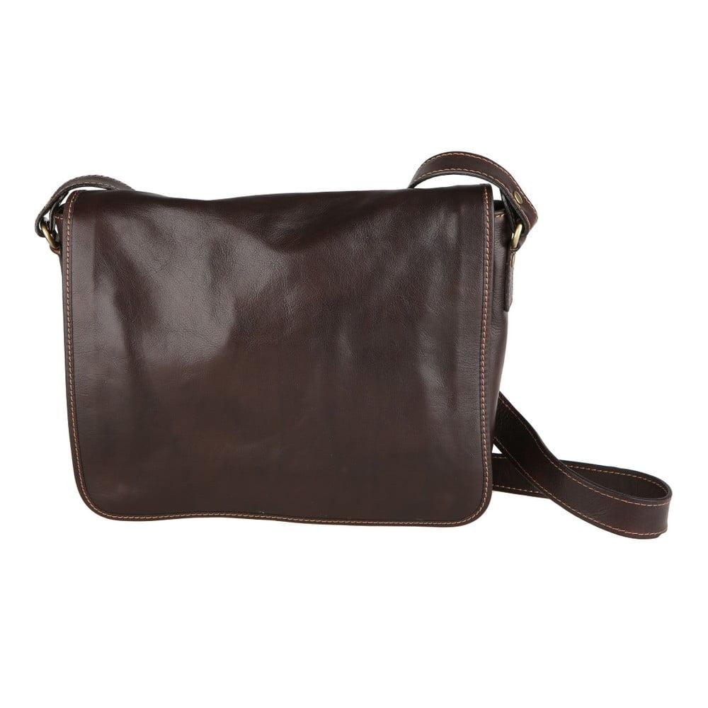 Tmavohnedá kožená taška Nora