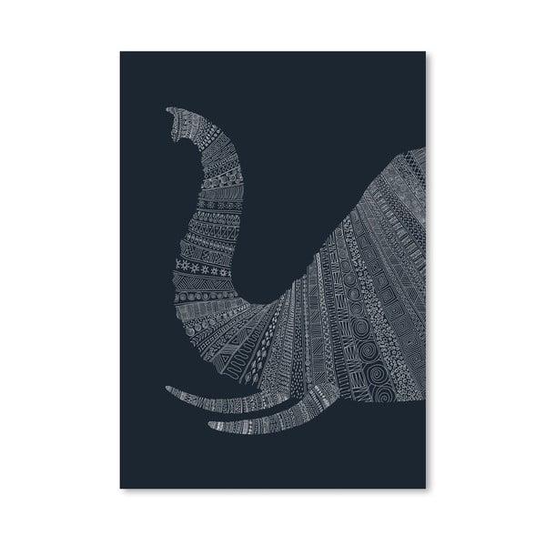 Plagát Elephant Blue od Florenta Bodart, 30x42 cm