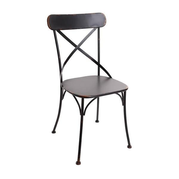 Čierna kovová stolička InArt Antique