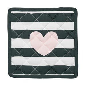 Sada 2 chňapiek Miss Étoile Heart Rose Black Stripes, 21 x 21 cm