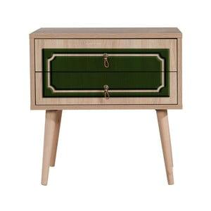 Nočný stolík s 2 zásuvkami Two Green Classic, 40×60 cm