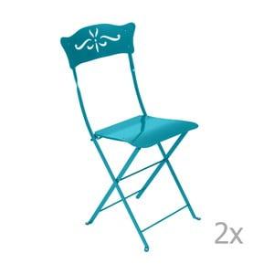 Sada 2 modrých skladacích záhradných stoličiek Fermob Bagatelle