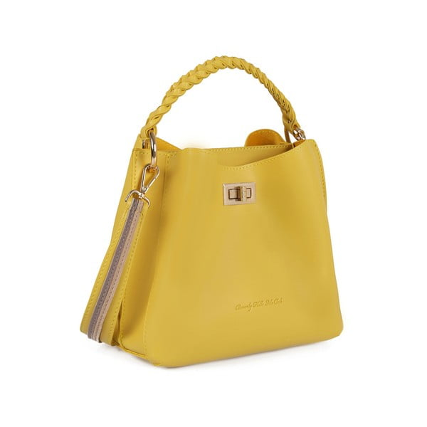 Žltá kožená kabelka Beverly Hills Polo Club Eliana