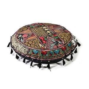 Ručne vyšívaný meditačný vankúš Rajastan, černý
